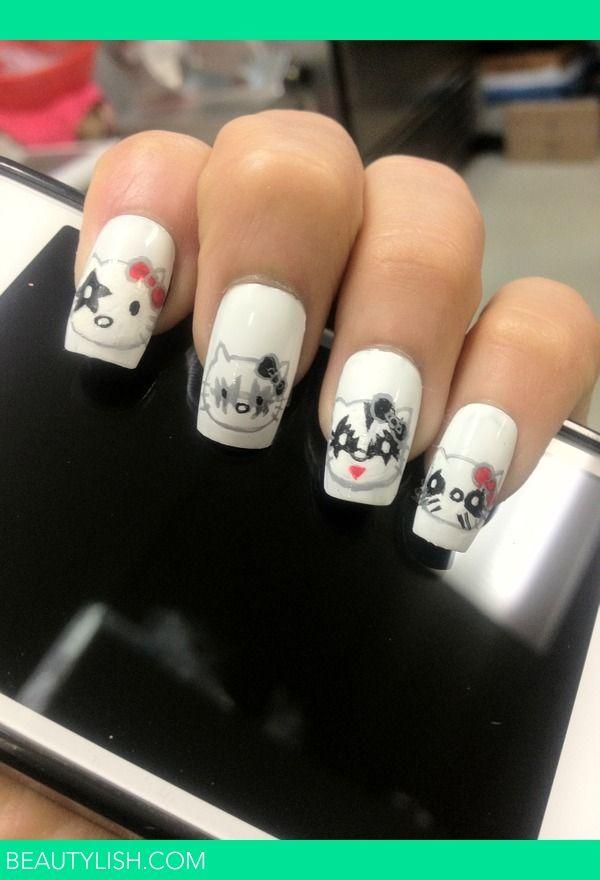 Hello Kitty Kiss Nails Love These Nailed It Pinterest Kiss
