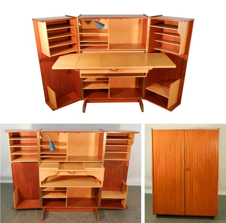 Office Furniture For Small Bedrooms: Teak And Sycamore Compact Home Office Desk And Storage