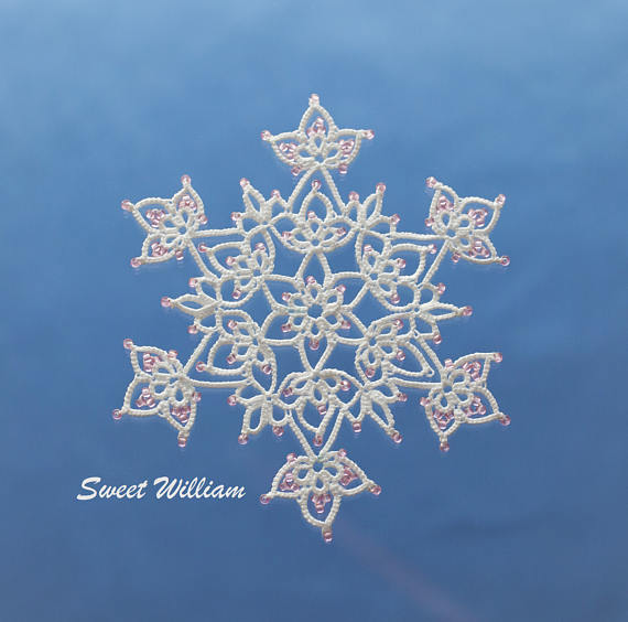 Sweet William tatting pattern PDF tatted in white with beads ...