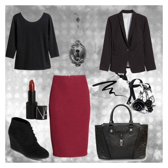 corporate goth 6 Red wiggle by venusmantrap on Polyvore featuring H&M, Arizona, Loungefly, NARS Cosmetics and Eyeko