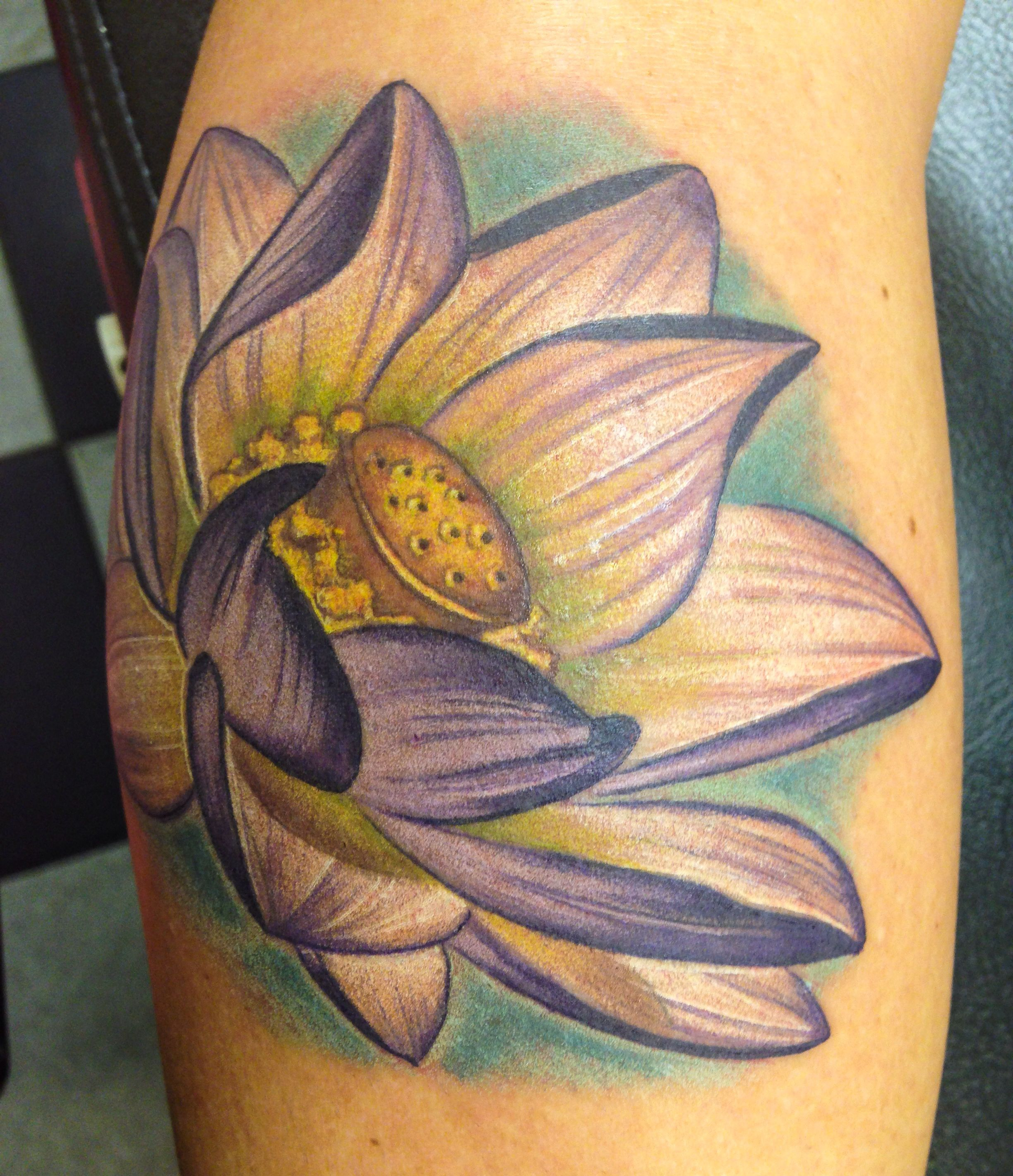 Pretty colorful realistic lotus tattoo done by me tatts pretty colorful realistic lotus tattoo done by me izmirmasajfo