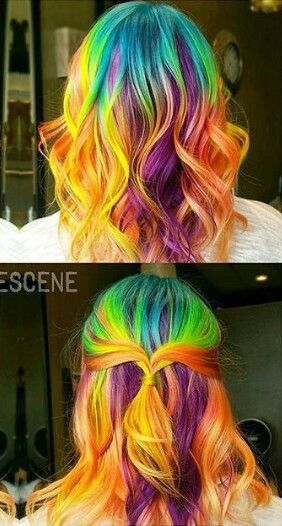 Orange yellow purple  rainbow dyed hair color idea @hair_goals101 @bescene