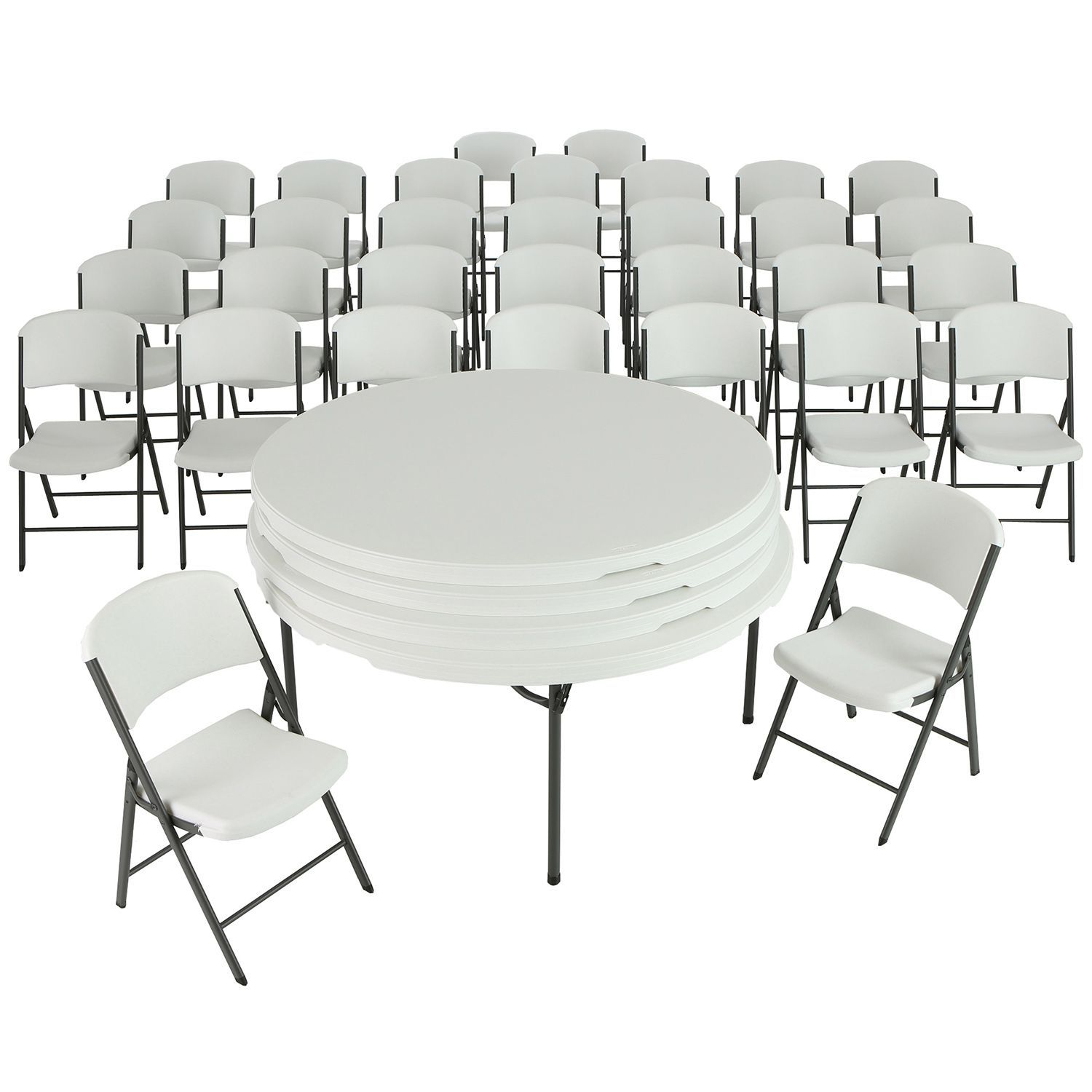 Lifetime Combo 4 60 Round Commercial Grade Folding Tables And