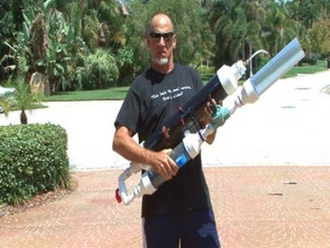 How To Make A Powerful Pvc Air Cannon With Coaxial Piston Valve Air Cannon Cannon T Shirt Hacks
