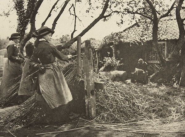 'Osier Peeling', 1888. Photograph by Peter Henry Emerson (1856-1936) showing women peeling willow for use in basket-making and other uses.1 888