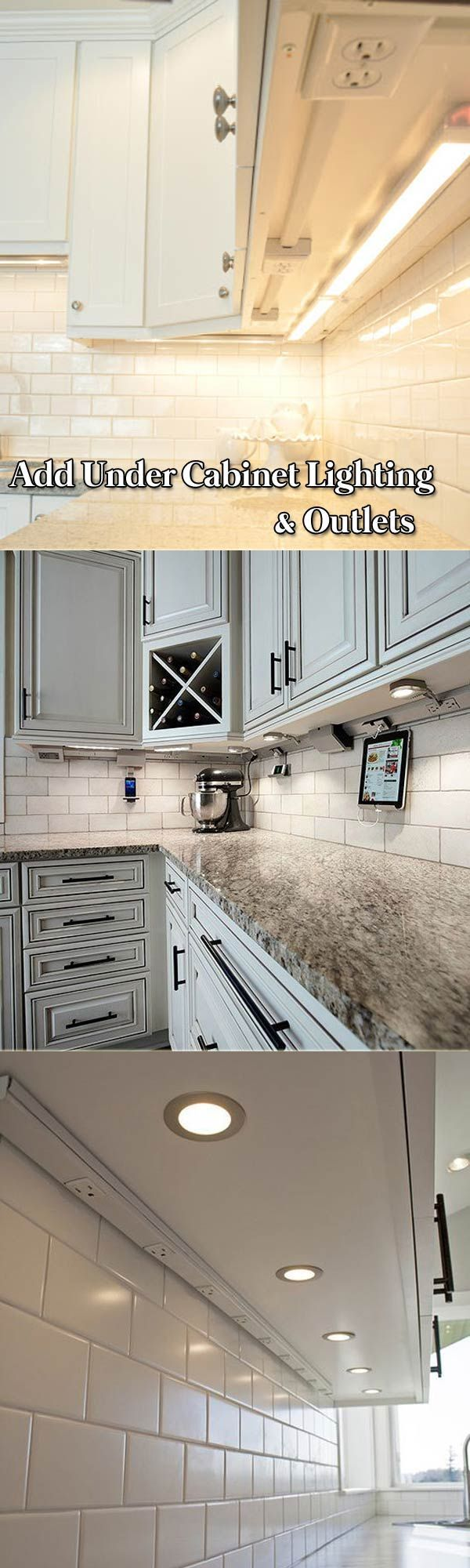 Add Under Cabinet Lighting And Outlets To Your Kitchen Remodeling Undercabinet In 2020 Kitchen Dinning Room Diy Kitchen Cabinets Home