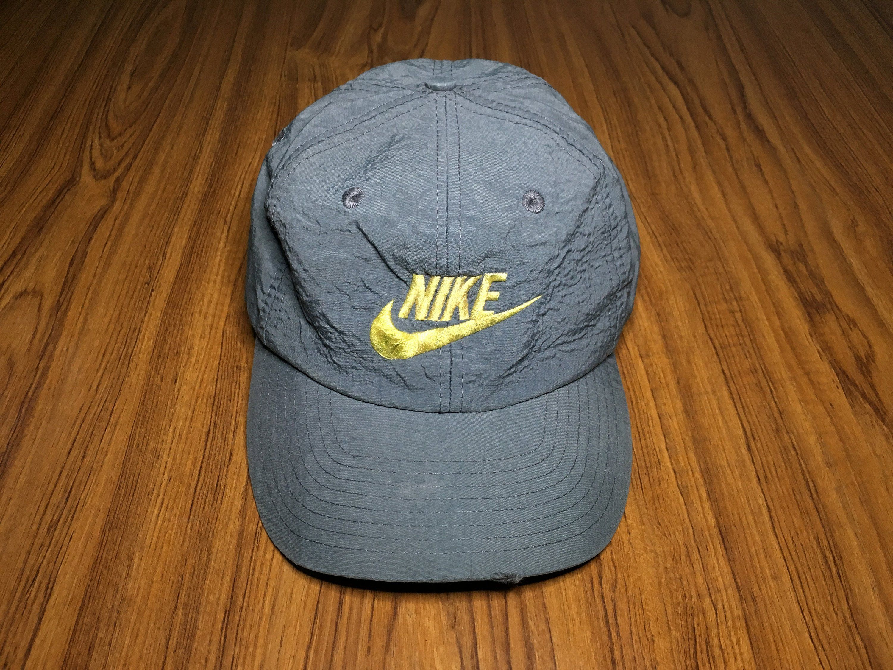 e0bd70a0ddabe Vintage Nike cap swoosh logo spell out snapback cap Gray by ...