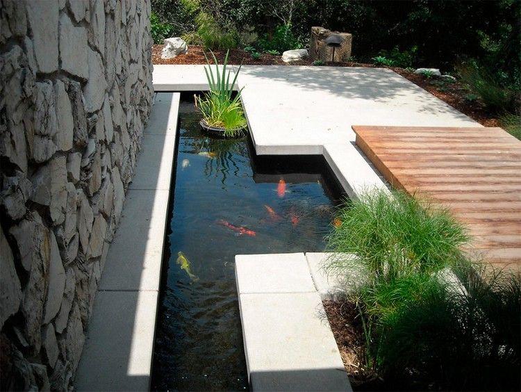 bassin carpe koï au design minimaliste, plantes aquatiques et terrasse en pierre…