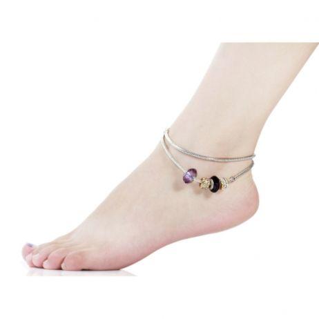 Bratara de picior Purple Murano Glass Charm Silver Pandora Style