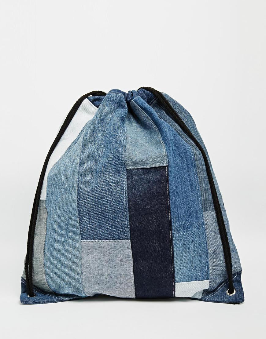 milk it sac dos en patchwork de jean avec cordon de serrage patchwork jeans et sac. Black Bedroom Furniture Sets. Home Design Ideas
