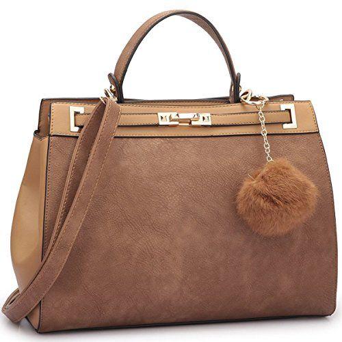 Amazon.com: Dasein Women's Designer Top Handle Satchel Handbag Two ...