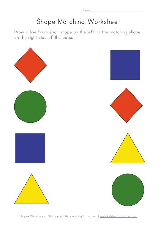 Printable Shapes Worksheet - Match Shapes | Kids Learning Station ...