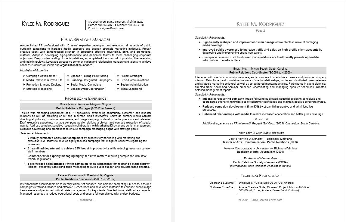 Sample resume for a public relations manager (With images
