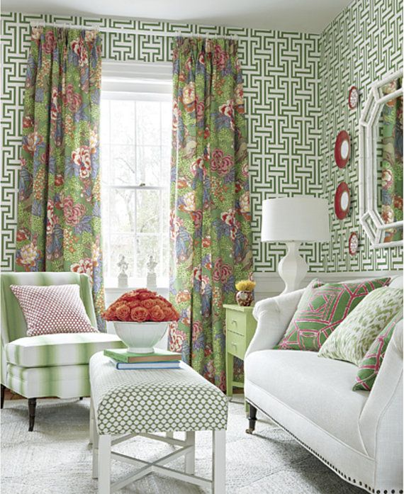 Thibaut Curtains Green Pink Curtain Panels Thibaut Drapery Etsy In 2020 Living Room Green Home Home Decor #pink #living #room #curtains