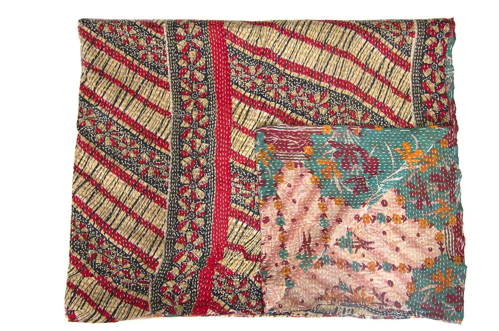Kantha Throw BLACK RED AND BEIGE. REVERSE TURQUOISE AND PALE PINK Detailed description: Diagonal design of red black and beige. Reverse pale pink background with turquoise and rusty red design. 100% cotton. Machine washable. 145cm x 225cm  £95.00 + £6.50 shipping http://www.camillacostello.co.uk/products-page/throws-kantha/