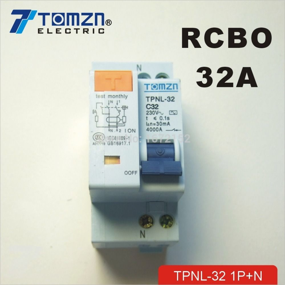 Dpnl 1p N 32a 230v 50hz 60hz Residual Current Circuit Breaker With Over Current And Leakage Protection Rcbo Breakers Circuit Locker Storage