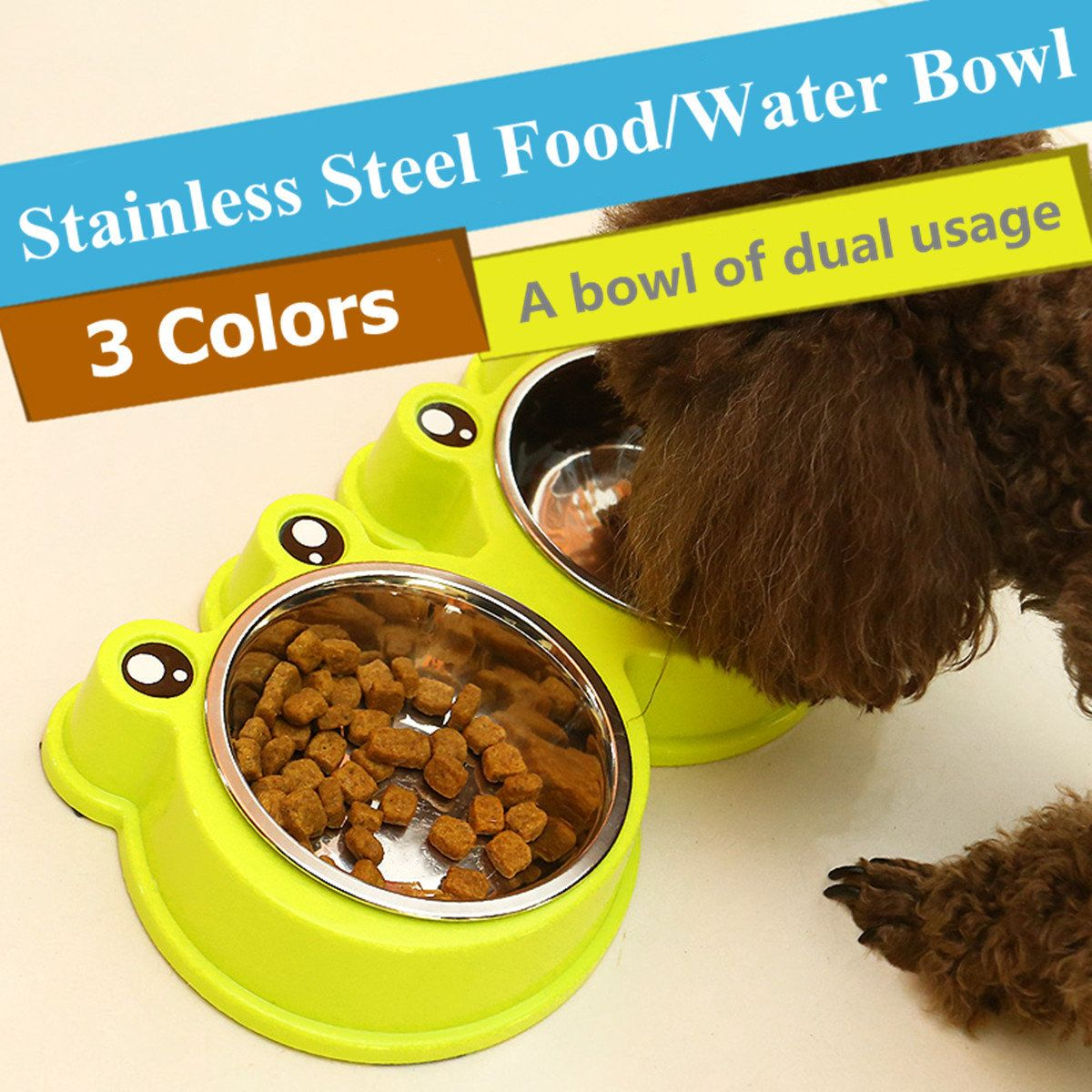 3 Colors Pets Cartoon Frog Style Food Water Bowl Dog Cat Stainless