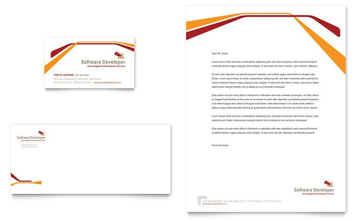 Software Developer Business Card And Letterhead Design Template By