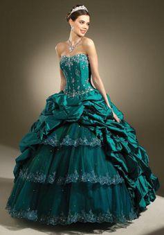 2598e1b5bad quinceanera ball gown long strapless taffeta with natural waist. Emerald  Green Prom Dress ...