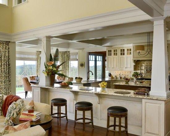 Open Concept Kitchen Island With Support Columns Novocom Top