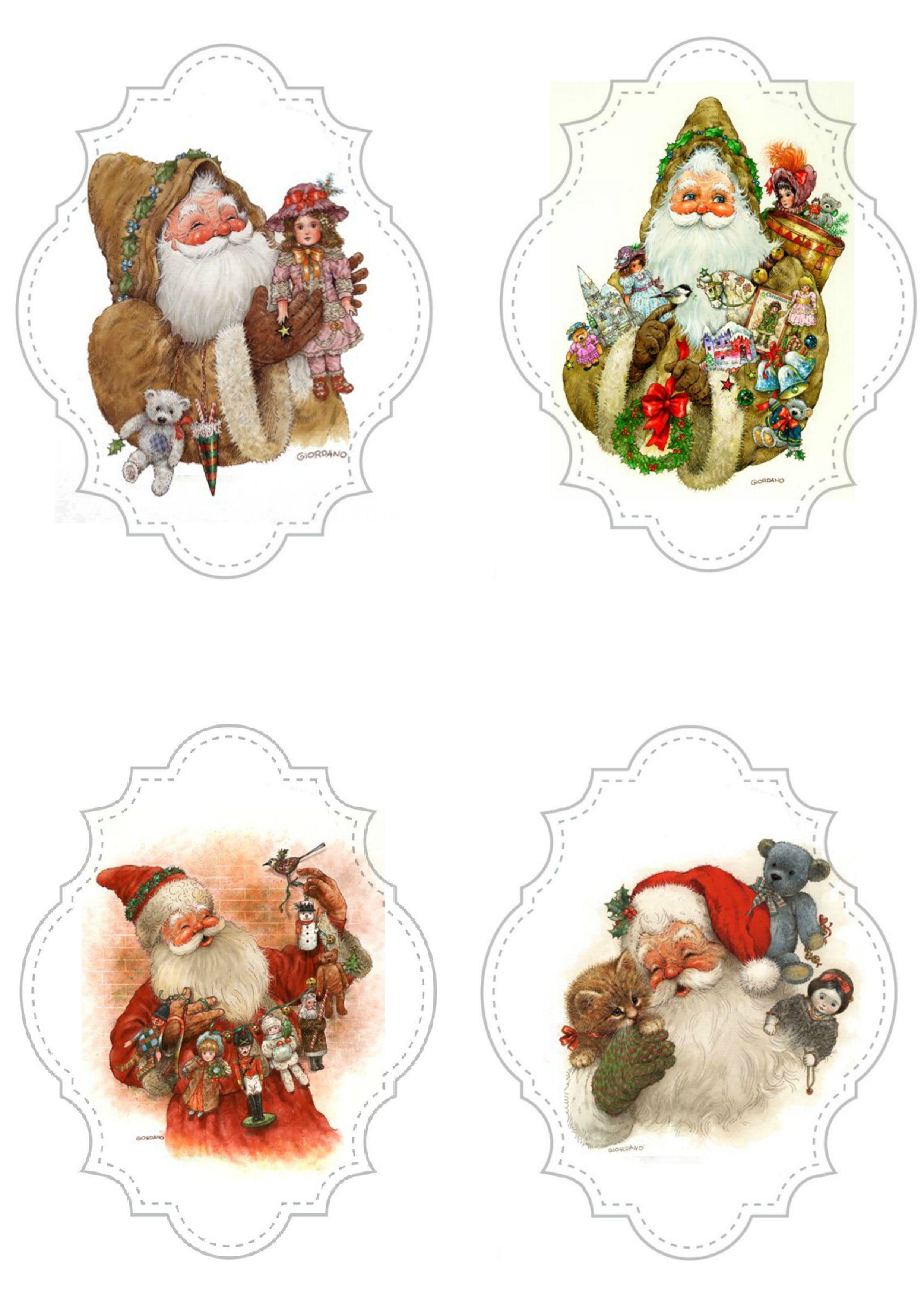 Santa Christmas Decoupage Christmas Art Christmas Pictures