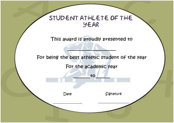 Student athlete of the year award student of the year award template student athlete of the year award yelopaper Image collections