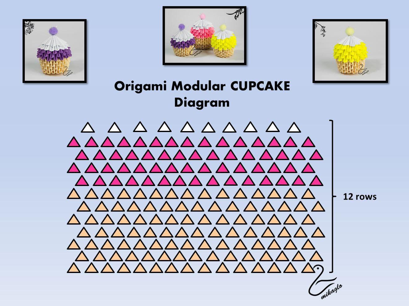 3d Origam Cupcake Tutorial Origami Pinterest Diagrams