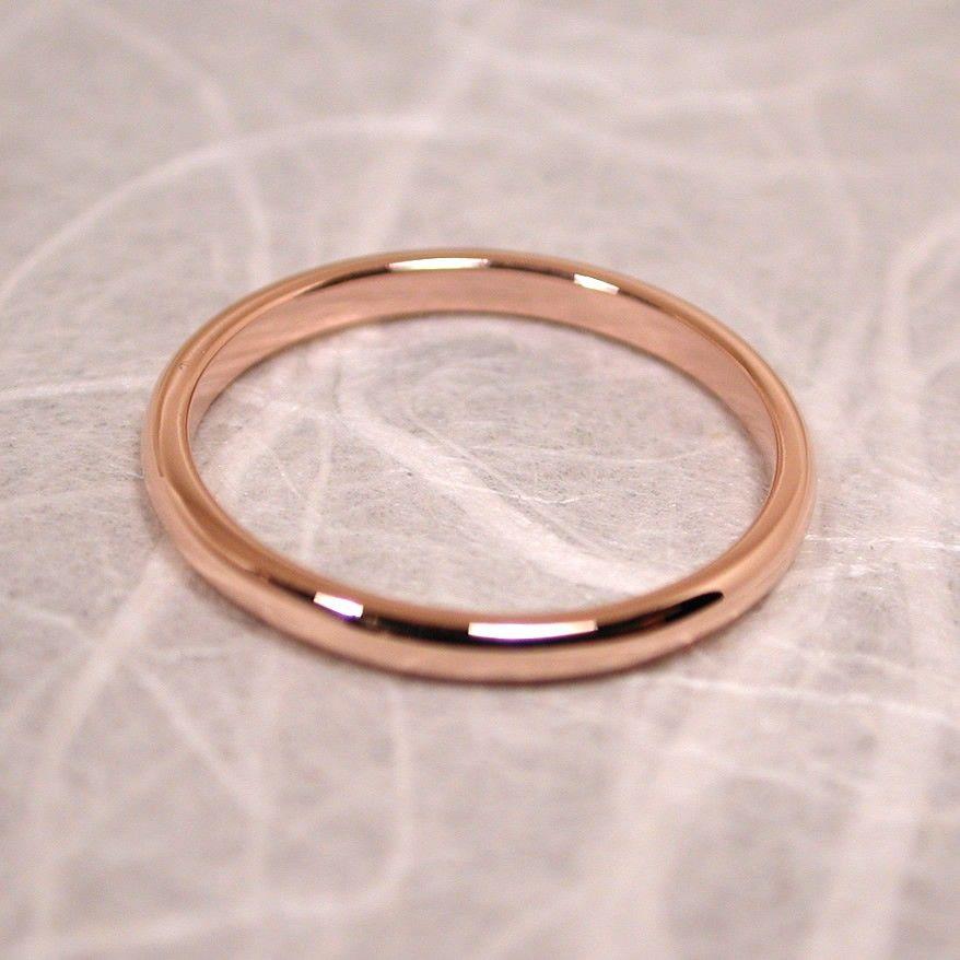 rose gold wedding band delicate pink blush 14k gold wedding ring 2mm 23000 via