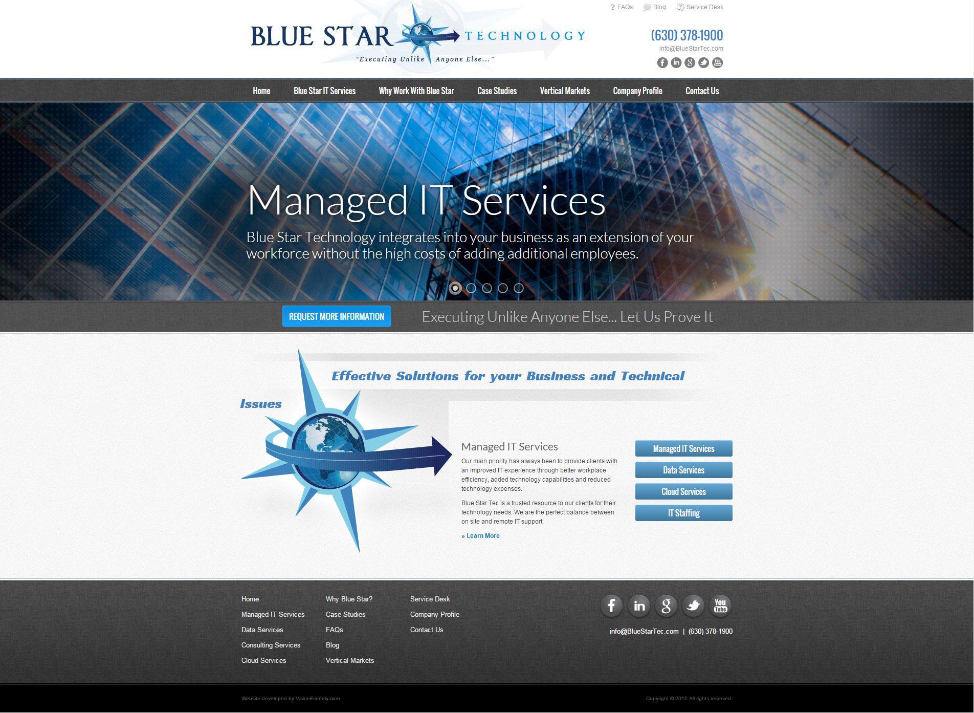 Blue And Grey Web Design By Visionfriendly Com Managed It Services Web Design Website Design