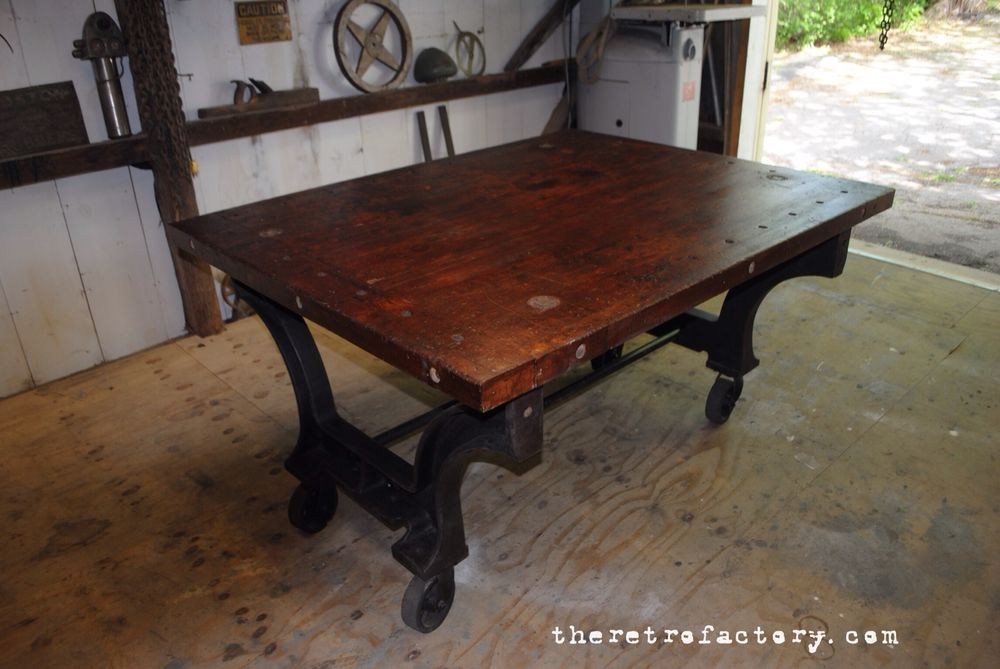 Huge Industrial Table W/Cast Iron Machine Legs U0026 Reclaimed Antique Top In  Collectibles, Kitchen U0026 Home, Furniture, Tables