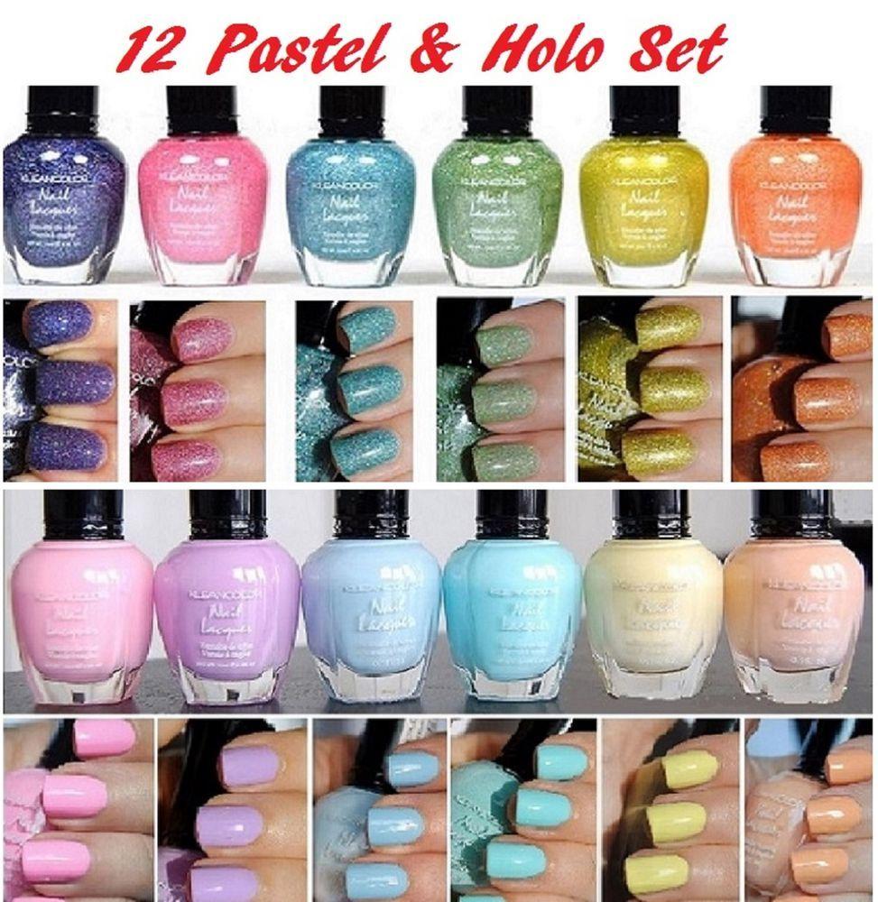 12 PCS New Kleancolor FULL SIZE PASTEL HOLO LOT Nail Polish Colors ...