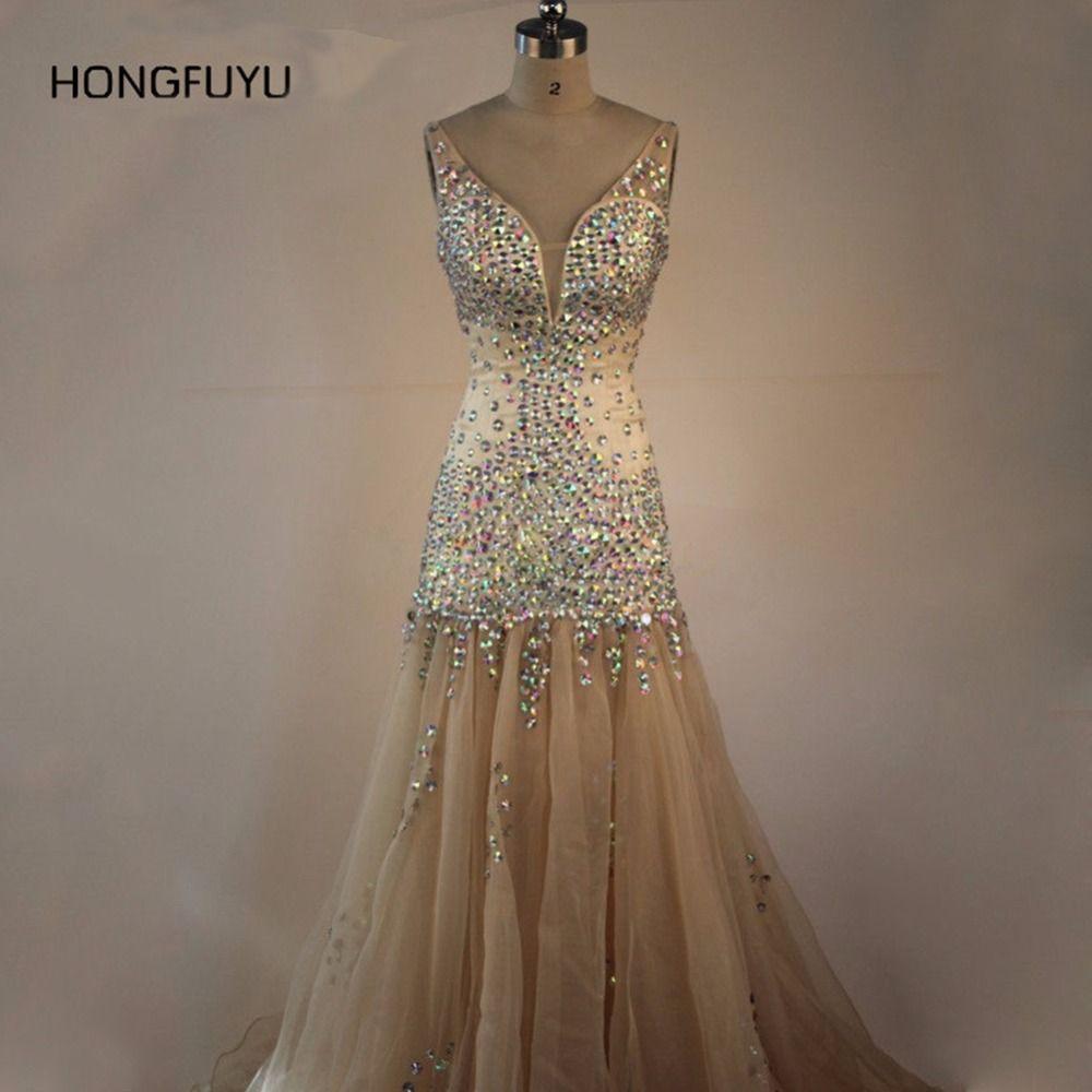 Real Photo Neue Mode Hohe Qualität Prom Kleider Elegante V Neck Bead ...