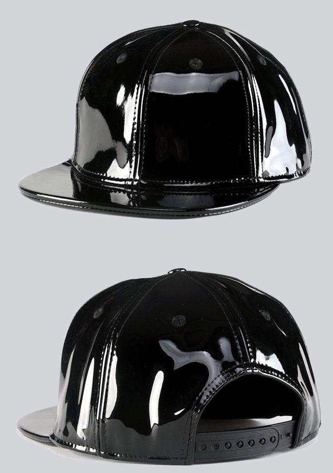 Black patent leather snapback Leather Snapback 3e1e6a2cd5f