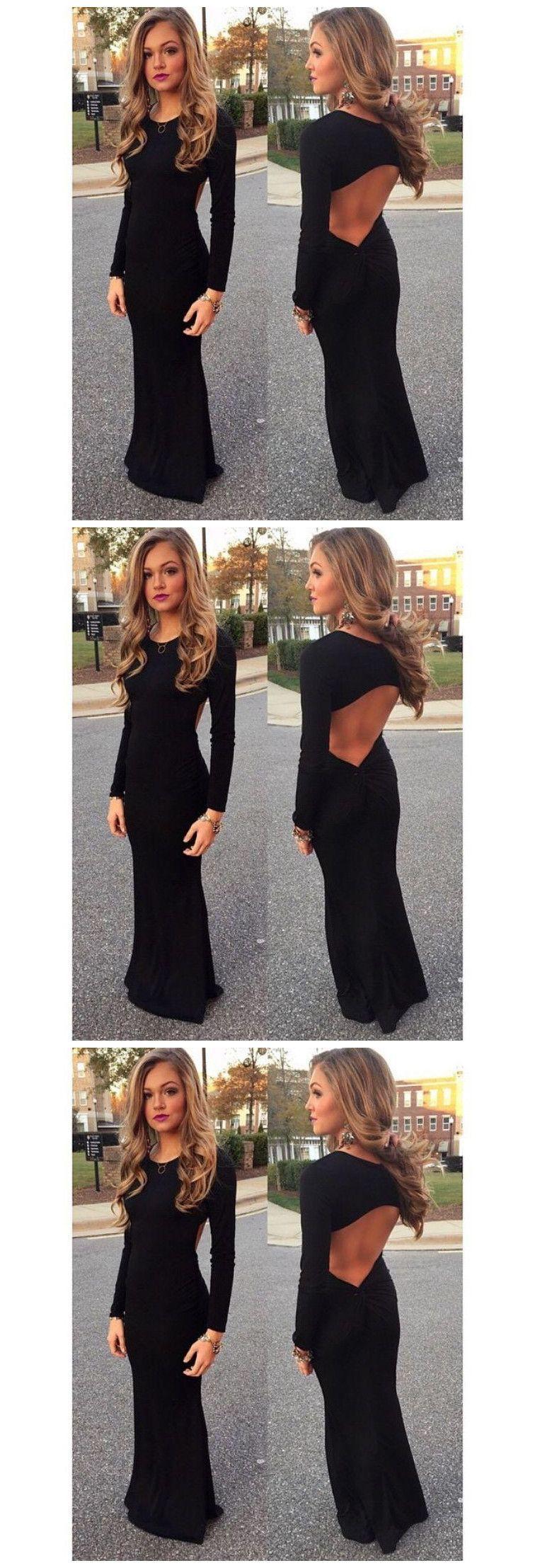 Backless prom dressblack prom dresseslong evening dress clothes