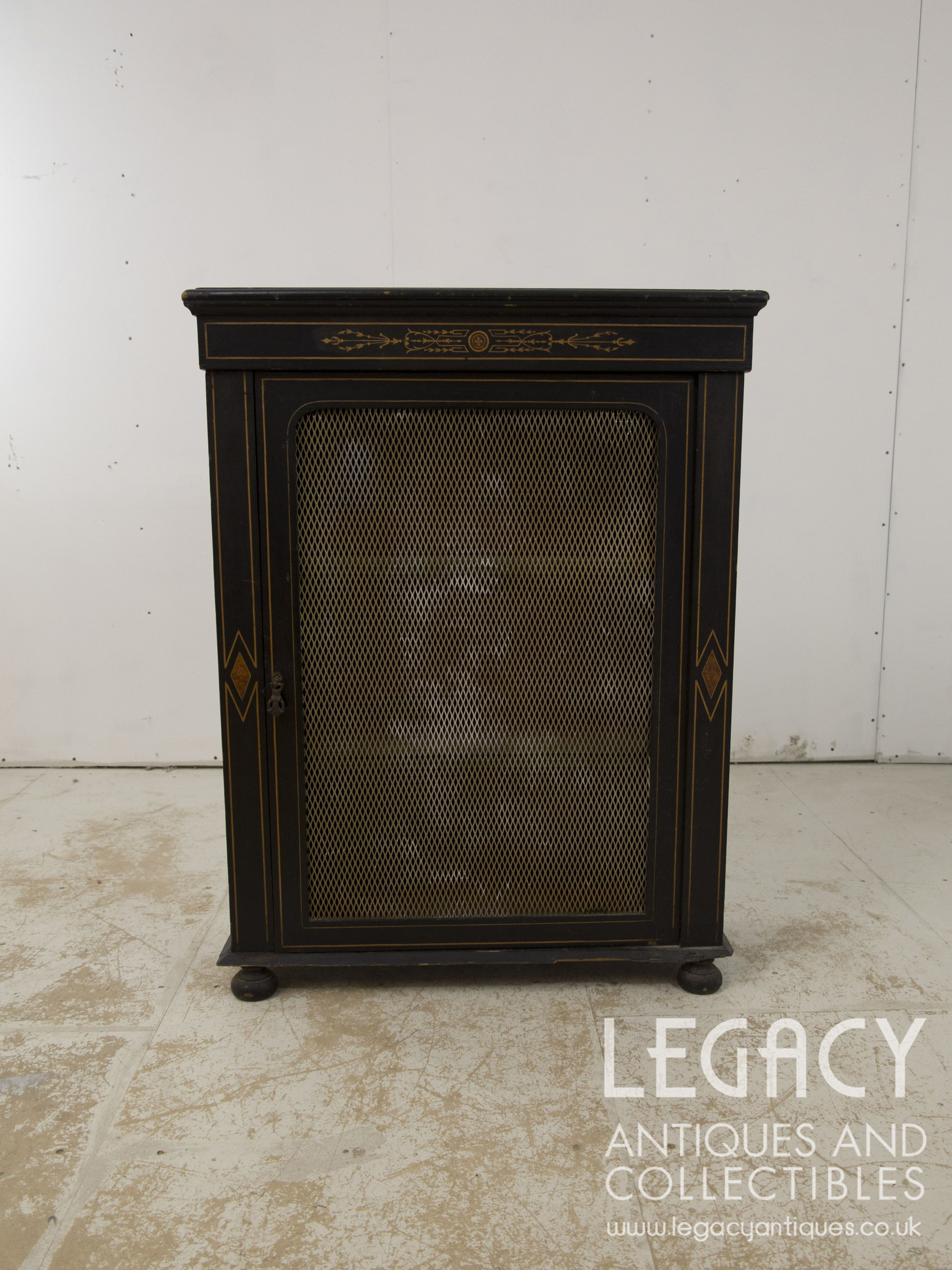 Late Victorian Ebonised Pier Cabinet With Marquetry Inlay And Unusual
