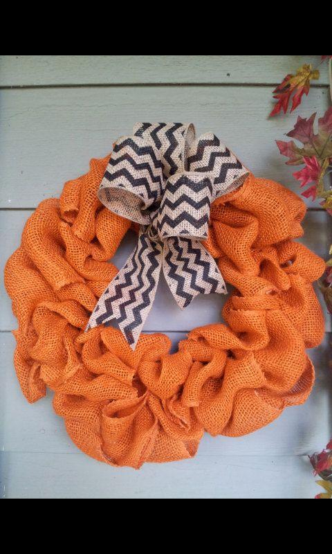 Custom+Burlap+Wreath+with+Chevron+Bow+by+TheRedHeeledWreath,+$25.00