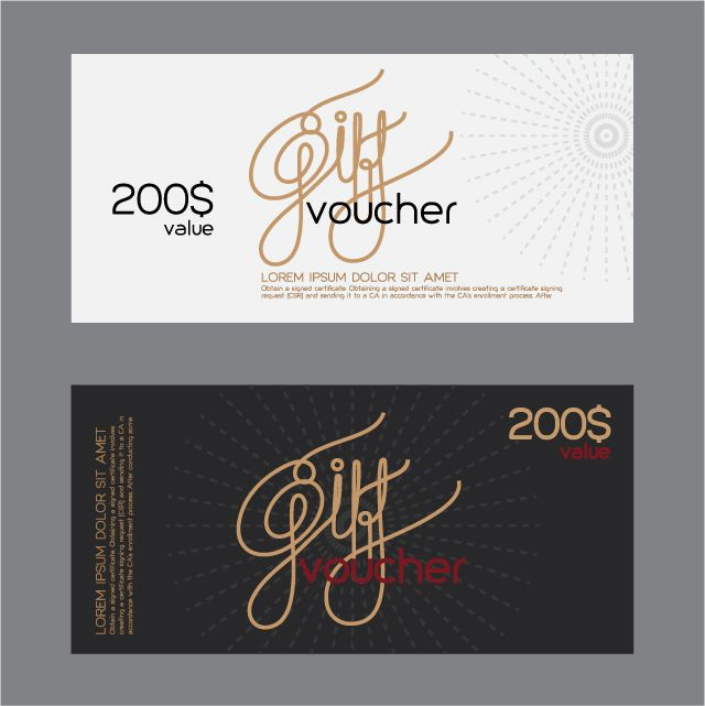 Vector set of gift voucher design elements 05 Smile-diy - best of funny gift certificate template