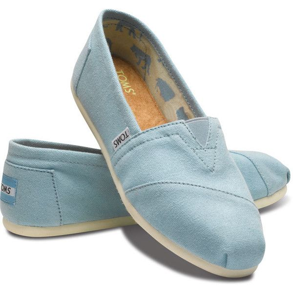 TOMS Blue Canvas Classic Women Slip On Shoes 5.5 ❤ liked on Polyvore