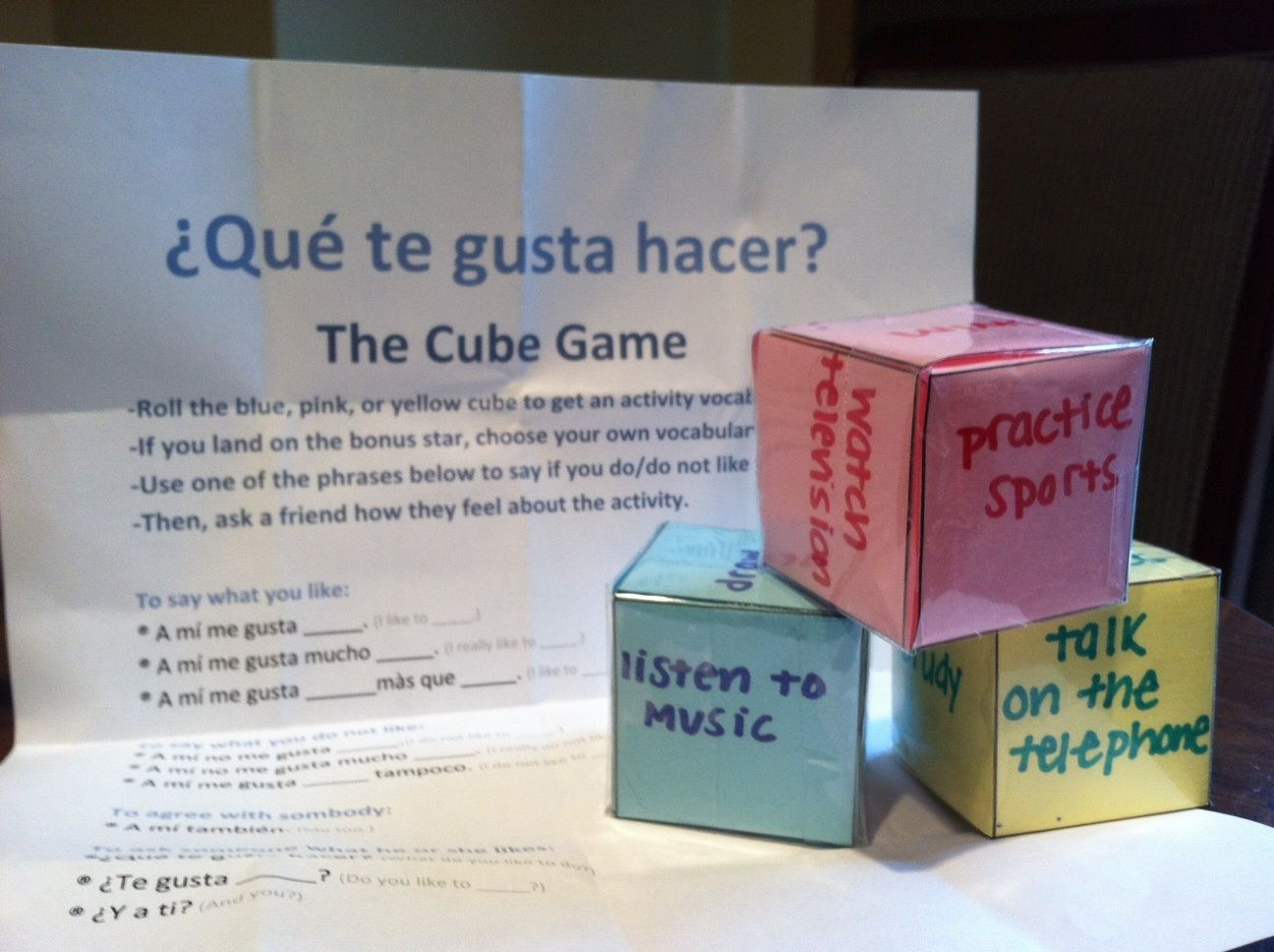 Teaching Spanish Vocabulary With The Cube Game Students