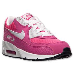 official photos 260b5 b5a44 Girls  Preschool Nike Air Max 90 Running Shoes   Finish Line   Vivid  Pink Metallic Silver Pure Platinum