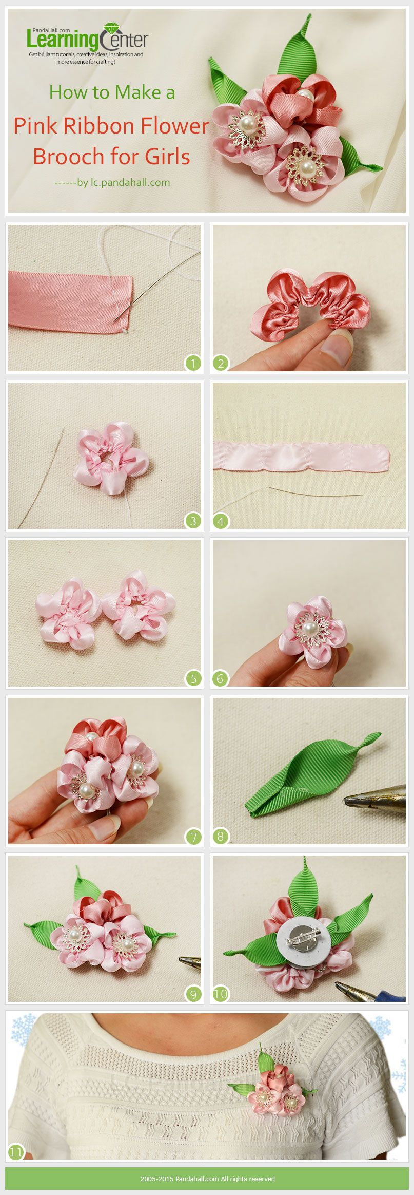 How To Make A Pink Ribbon Flower Brooch For Girls Ribbon Flower