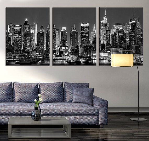 Large Art Panorama Manhattan Night Cityscape by ExtraLargeWallArt