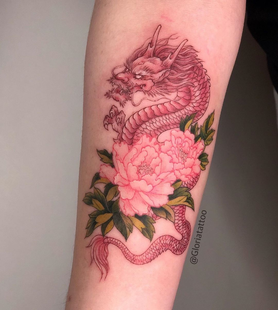 Gloria Zhang Tattoo On Instagram Red Dragon With Peony Red Tattoos Dragon Tattoo For Women Red Ink Tattoos