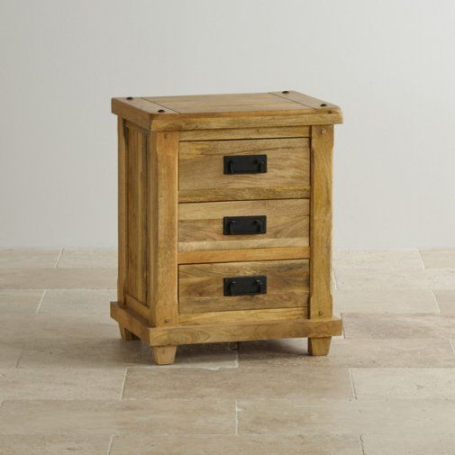 Baku Light Natural Solid Mango 3 Drawer Bedside Table Bedside