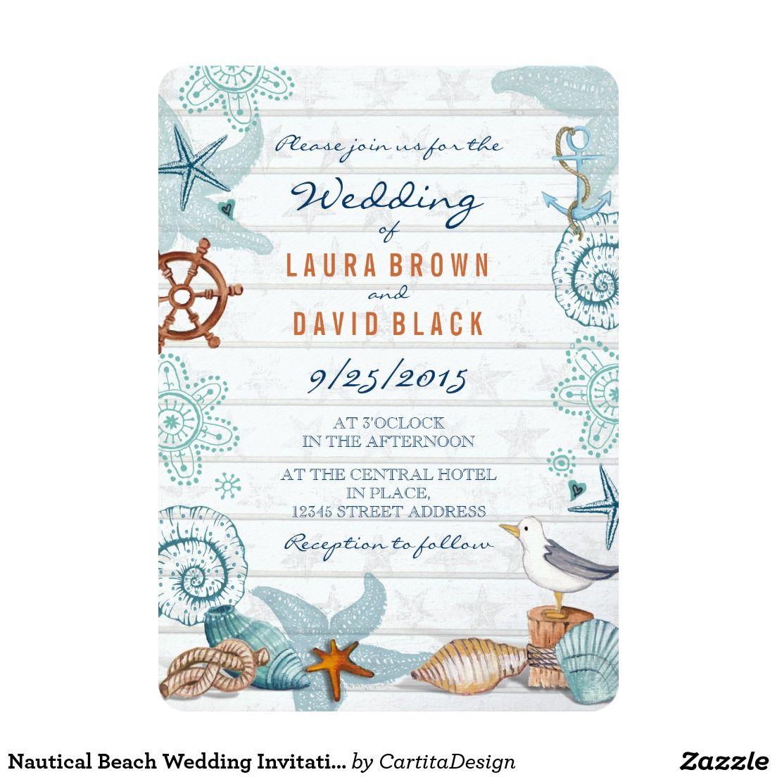 Nautical Beach Wedding Invitation | Beach Wedding Invitations ...