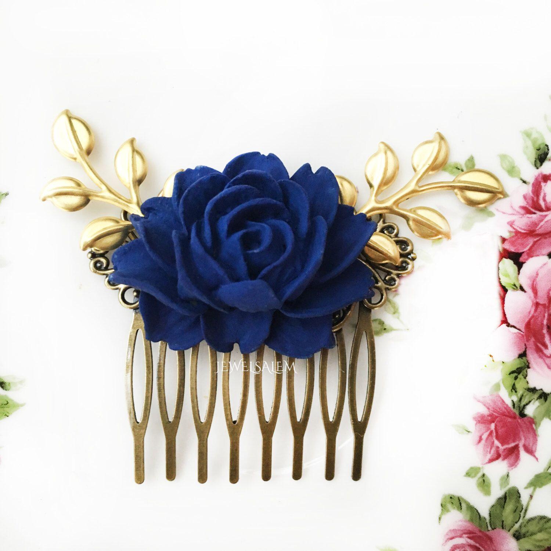 dark blue wedding comb navy blue rose hair comb silver leaf bridal
