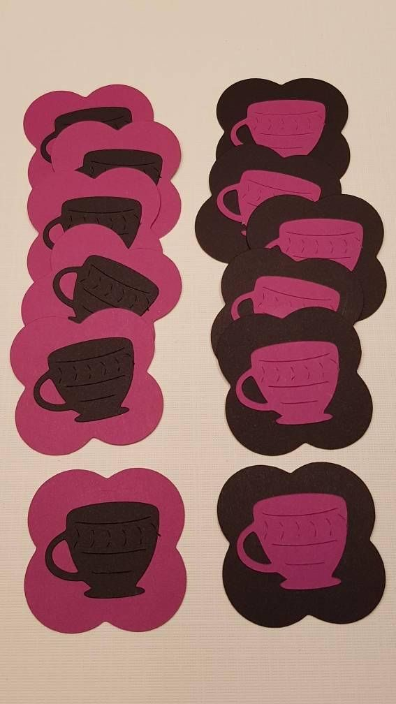 12 Tea Cup Embellishments, gift tags, labels, price tags