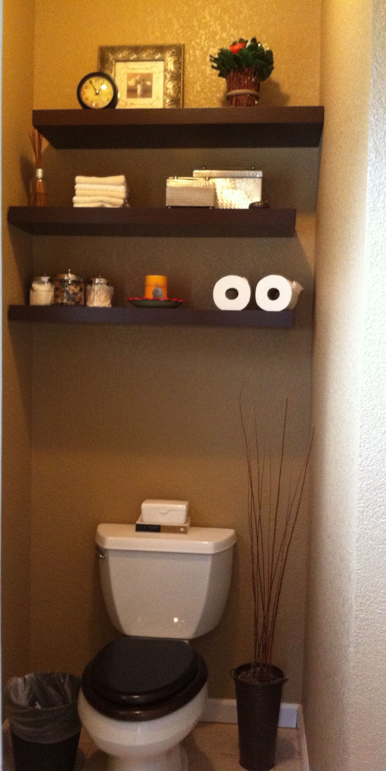 My Pinterest Inspired Project   Toilet Room Floating Shelves.