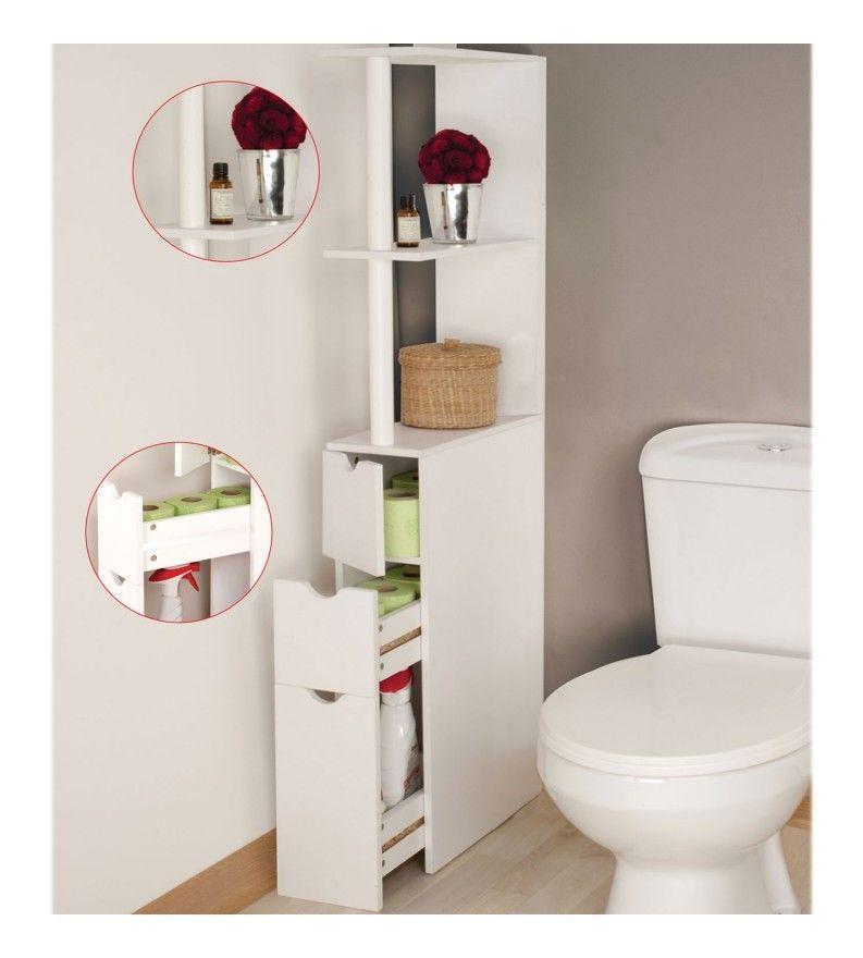 Meuble Wc Etagere Bois 3 Portes Blanc Gain De Place Pour Toilettes 12227 Meuble Wc Meuble Toilette Meuble Wc Bois