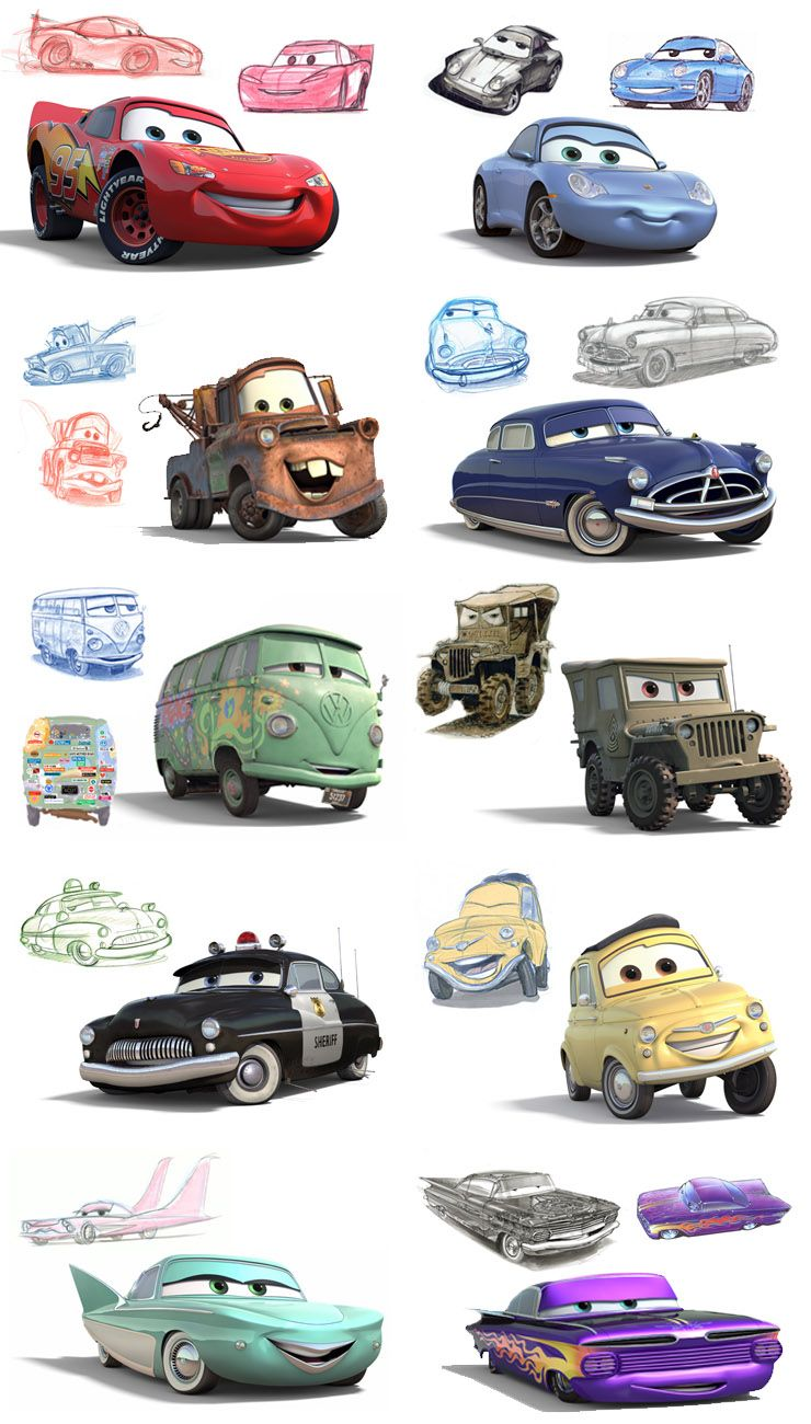 Cars 2 Cartoon Characters Names : Disney pixar cars characters sketches costumes